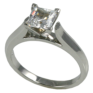 14k Gold Princess or Round Cut Cathedral Engagement Moissanite Ring - Product Image