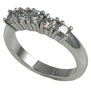 14k Gold 5 Stone Moissanite Wedding Ring / Anniversary Band  - Product Image