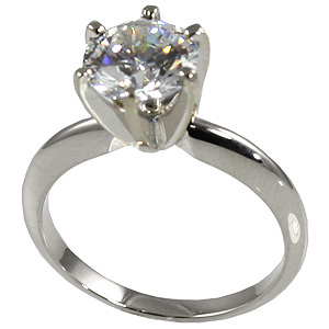 Sterling Silver Moissanite 6 Prong Tiffany Engagement Ring - Product Image
