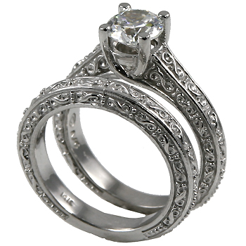 Sterling Silver Antique style Wedding Set Moissanite Ring - Product Image
