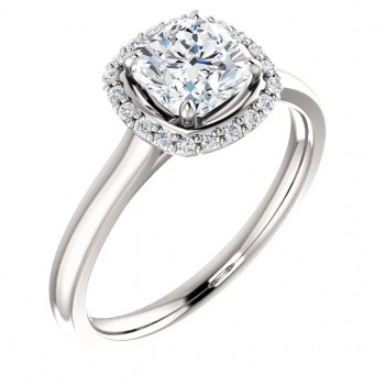 Solid 14k Gold Round Brilliant or Cushion Cut Moissanite Halo Style Solitaire Engagement Ring - Product Image