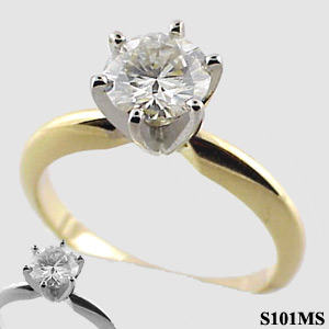 Moissanite 6 prong Traditional Tiffany Style Solitaire Engagement Ring - Product Image