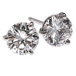 14k Gold 3 Prong Round Brilliant Martini Stud Earrings Moissanite - Product Image