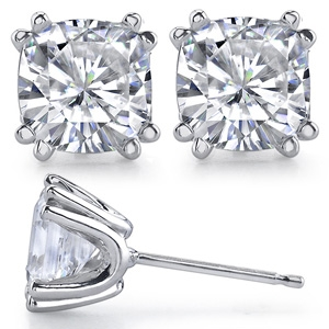 Cushion Cut Charles & Colvard Moissanite 8 prong Stud Earrings - Product Image