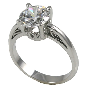 Platinum Antique Scroll Round Brilliant Moissanite Solitaire Engagement Ring - Product Image