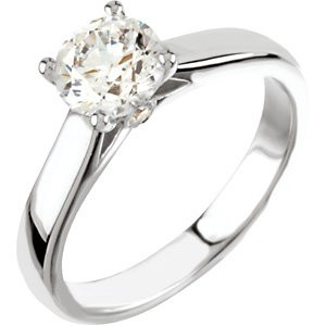 Solid 14k Gold Round Brilliant or Princess Cut Moissanite Cathedral Style Engagement Ring W/ Accent Stone - Product Image