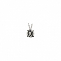 14k Gold Basket Style Round Brilliant Moissanite Solitaire Pendant with Chain - Product Image