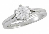 1 ct 6 Prong 14k Gold Moissanite Solitaire/Engagement Ring - Product Image