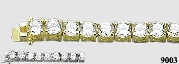 Solid 14K Gold 5 Carat Moissanite Tennis Bracelet - Product Image