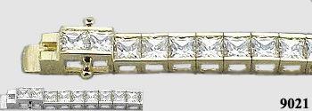 Solid 14k Gold 6 Carat Princess Cut Moissanite Tennis Bracelet - Product Image