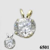 14k Gold Moissanite Pendant - Product Image