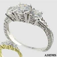 Moissanite Antique/Deco style 3 stone ring - Product Image
