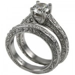 14k Gold Antique Infinity Style Round Brilliant Moissanite Solitaire Wedding Set - Product Image