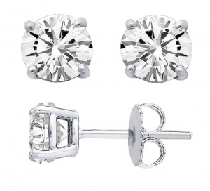 14k Gold Charles & Colvard Moissanite Stud Earrings - Product Image