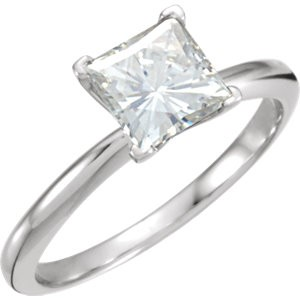 14k Gold Charles & Colvard Moissanite V Shaped Prongs Princess Engagement Ring - Product Image
