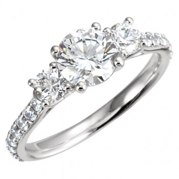 14k Gold Round Brilliant Moissanite Anniversary Style 3-Stone Engagement Ring - Product Image