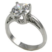 14k Gold Charles & Colvard Moissanite 14k Antique/Scroll Solitaire Ring - Product Image