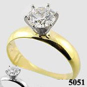 14k Gold Round Brilliant Charles & Colvard Moissanite 4mm Wide Band Engagement Ring - Product Image
