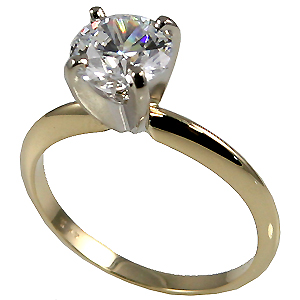 14k Gold Round Brilliant Moissanite 4 Prong Tiffany Style Engagement Ring - Product Image