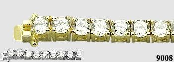 Solid 14k Gold 7 Carat Moissanite Tennis Bracelet - Product Image