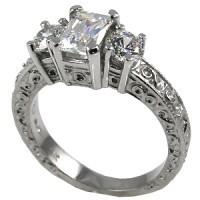 14k Gold 3 Stone Antique Emerald Radiant & Round Moissanite 3 Stone Ring - Product Image