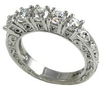 14k Gold Moissanite Antique Wedding Anniversary Band Ring - Product Image