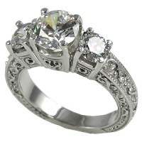 14k Gold 2.5 ctw 3 Stone Antique/Deco Moissanite Ring - Product Image