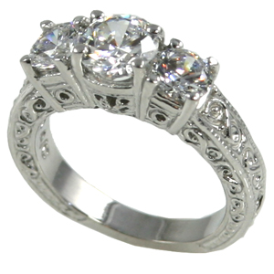 14k Gold 2 ctw 3 Stone Antique/Deco Moissanite Ring - Product Image