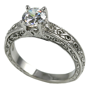 1Ct 14k Gold Antique Moissanite Engagement Ring - Product Image