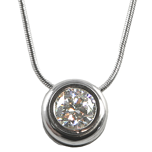 Solid 14k Gold Moissanite in Bezel Slide Necklace w/ Snake Chain Necklace - Product Image