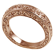 14k Rose Gold Antique Fancy Wedding Band Ring - Product Image