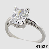14k Gold Emerald Cut Moissanite Antique/Scroll Solitaire Moissanite Ring - Product Image