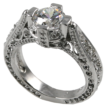 14k Gold 1ct Fancy Antique/Victorian Moissanite Ring - Product Image