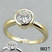14k Gold Charles & Colvard Moissanite Bezel Engagement Ring - Product Image