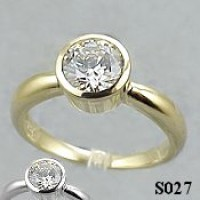 14k Gold Charles & Colvard Moissanite Bezel Engagement Ring - Product Image