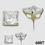 Solid 14k Gold Princess Cut Moissanite Earrings - Product Image