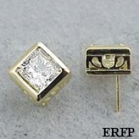 Solid 14k Gold Princess Cut Filigree Bezel Moissanite Earrings - Product Image