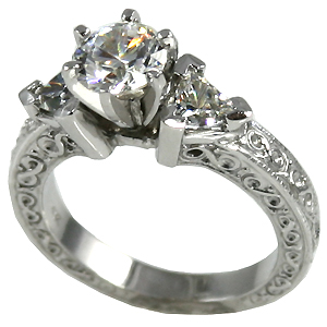 14k Gold Antique/Deco Round or Princess w/ Trillions Moissanite Ring - Product Image