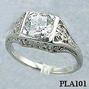 Platinum 1ct Moissanite Antique/Deco style Engagement ring - Product Image
