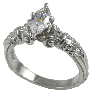 14k Gold Marquis Antique Engagement Moissanite Ring