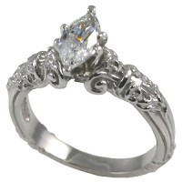 14k Gold Marquis Antique Engagement Moissanite Ring  - Product Image