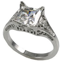 14k Gold 2ct Princess Moissanite Antique/Deco style ring - Product Image