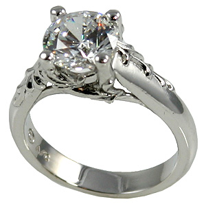 14k Gold Antique/Floral Moissanite Engagement Ring - Product Image