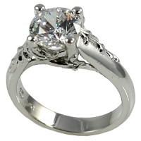 14k Gold Antique/Floral Moissanite Engagement Ring - Product Image