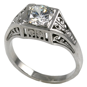 14k Gold 1ct Moissanite Antique/Deco style ring - Product Image