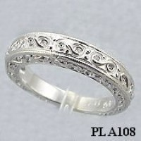 Platinum Antique Engagement Wedding Band Ring - Product Image