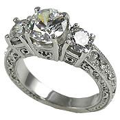 Platinum Antique Estate 3 Stone Engagement Ring  2 1/2 ctw - Product Image