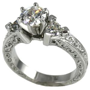 Platinum 3 Stone Antique Trillion Moissanite Ring - Product Image