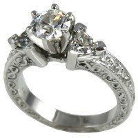 Platinum 3 Stone Antique Trillion Moissanite Ring - Product Image