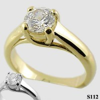 14k Gold Round Brilliant Moissanite Lucern Style Engagement Solitaire Ring - Product Image